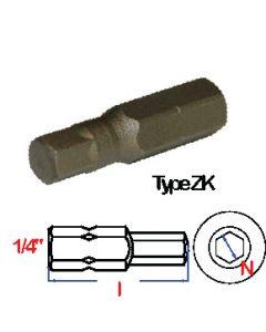 """Bits(1/4"""") S2 staal 58-61 25mm zeskant sw 4  (5 stuks) - B25ZK,04 S"""