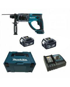 Makita DHR202RTJ 18V Li-ion accu SDS-plus combihamer set (2x 5Ah) in Mbox