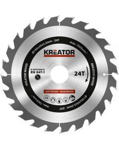 Kreator KRT020416 Cirkelzaagblad 190mm 24T - hout