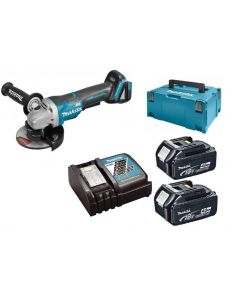 Makita DGA505RMJ 18V Li-Ion Accu haakse slijper set (2x 4.0Ah accu) in Mbox - 125mm - koolborstelloos - softstart