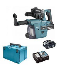 Makita DHR243RTJW Combihamer 18 Volt set (2x5Ah) incl. DX07 ingebouwde afzuiging met Hepa filter